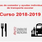 Convocatoria de ayudas de comedor y transporte escolar Curso 2018/19